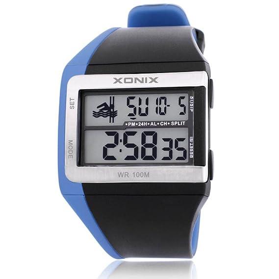 HombresS reloj multifunción luminosa led digital pantalla impermeable movimiento de natación reloj electrónico-B