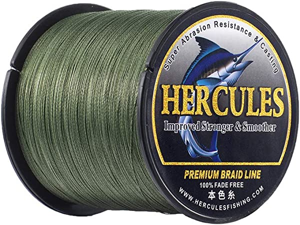 HERCULES Braided Fishing Line, Not Fade, 109-1094 Yards PE Lines, 4 Strands Multifilament Fish line, 6lb - 100lb Test for Saltwater and Freshwater, Abrasion Resistant