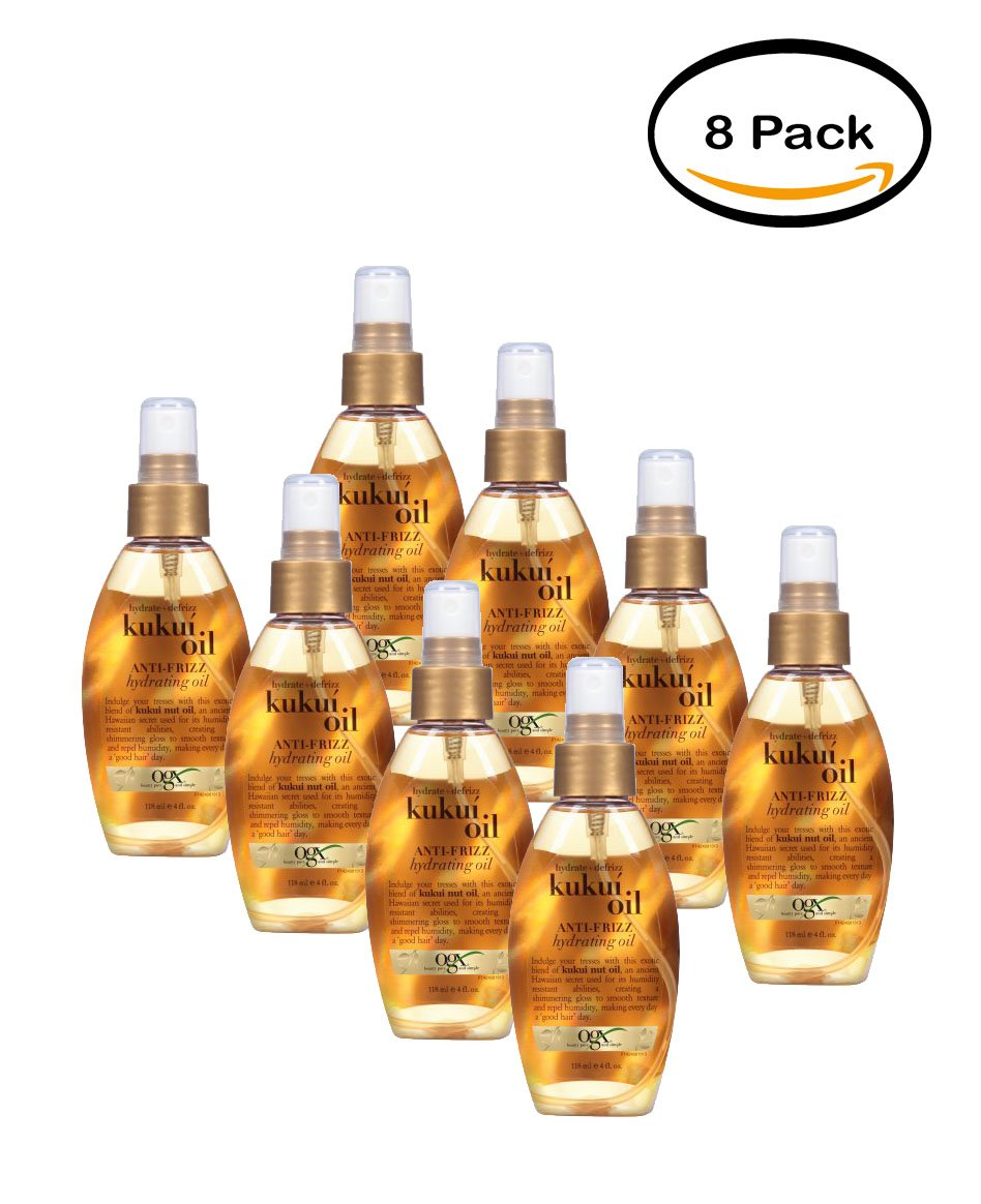 PACK OF 8 - OGX Anti-Frizz Hydrating Oil Kukui Oil, 4.0 FL OZ