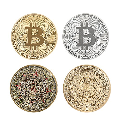 Classic Collection Set of 4 pcs Gold Plated+Silver Plated Bitcoin and Gold Plated+Bronze Plated Mayan Prophecy Commemorative Round Collectors Coins