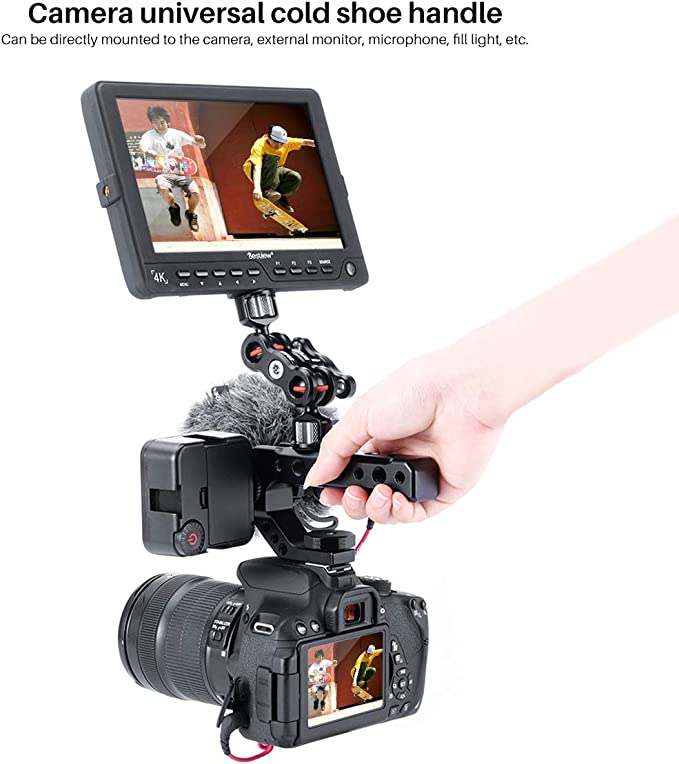 Camera Cold Shoe Mount Adapter Universal Video Action Stabilizing Handle Grip Ulanzi UURIG R005 Camera Handle Grip with 3 Cold Shoe 1//4 3//8 Holes