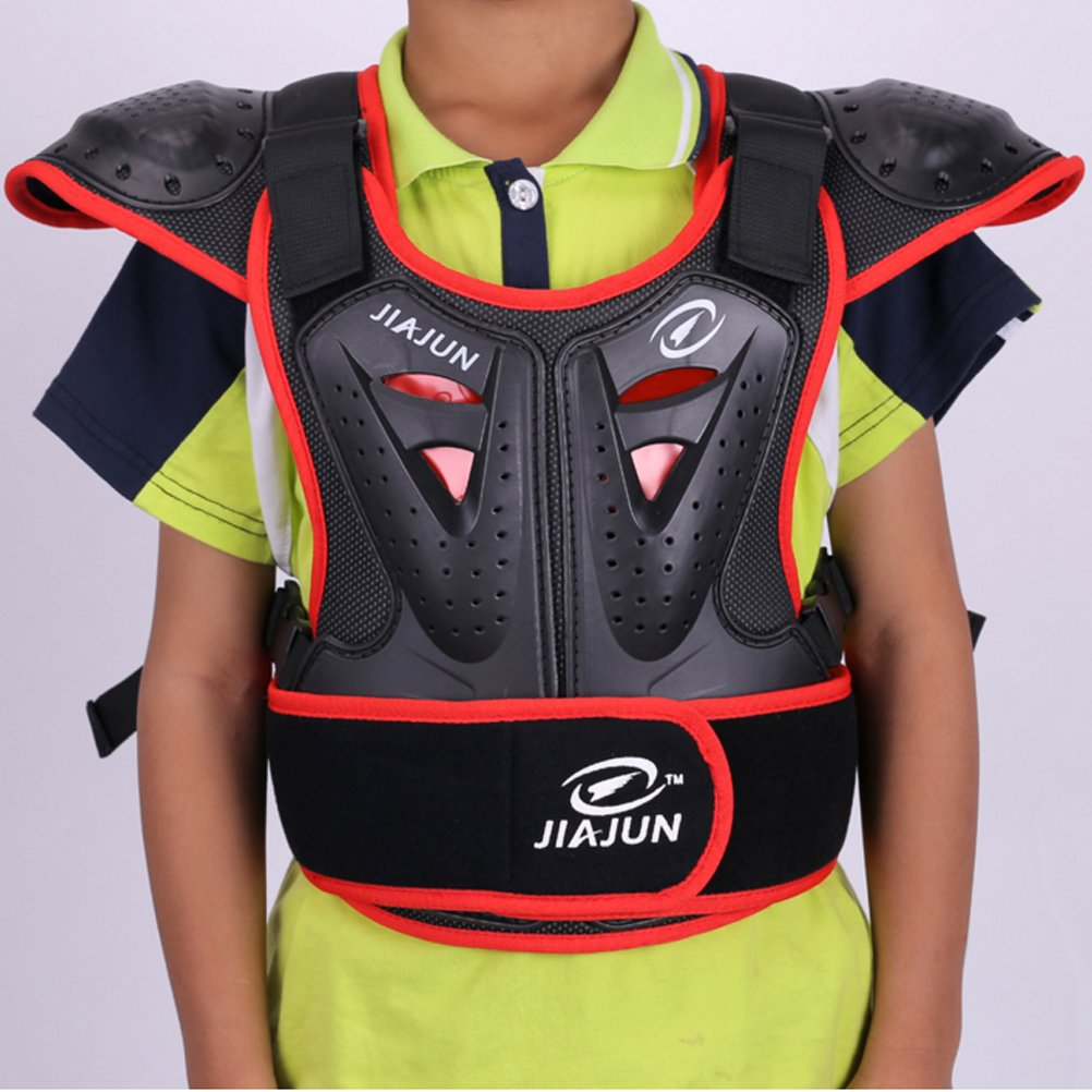 Takuey Children's Professional Armor Vest Protective Gear Jackets Guard Shirt For Dirtbike Motocross Skiing Snowboarding Dirt Bike Body Chest Spine Protector Back Motorcycle Support (Red, L)