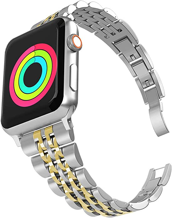 Aizilasa Band Compatible with Apple Watch Band 40mm Series 6/5 4/iWatch Bands 38mm Series 3 2 1 for Womens Men, Stainless Steel Bracelet Adjustable Metal Strap Wristbands (Silver & Gold-38mm/40mm)