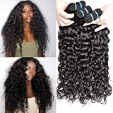 Iwish 3 Bundles Brazilian Hair Water Wave Real Human Hair Bundles Deals Brazilian Virgin Hair Wet and Wavy Weave Extensions (24 26 28inch, natural black)
