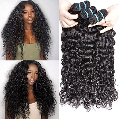 Iwish 3 Bundles Brazilian Hair Water Wave Real Human Hair Bundles Deals Brazilian Virgin Hair Wet and Wavy Weave Extensions (24 26 28inch, natural black) by Iwish Hair