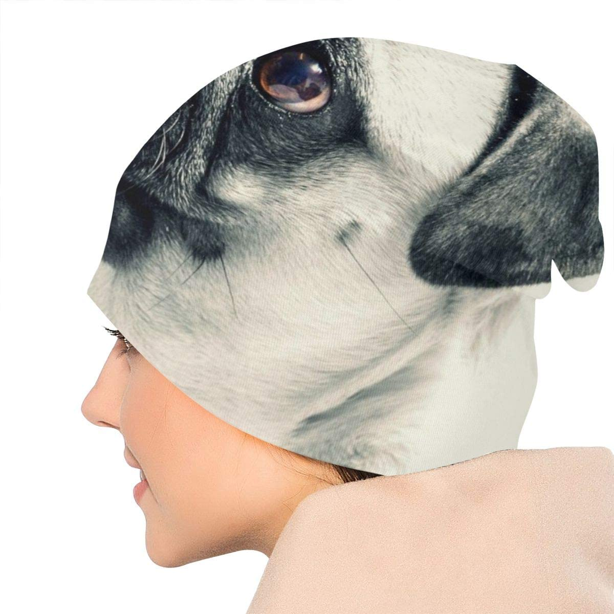HHTZTCL Cute English Bulldog Mens Womens Winter Beanies Knit Hat Stretch Skull Cap Black