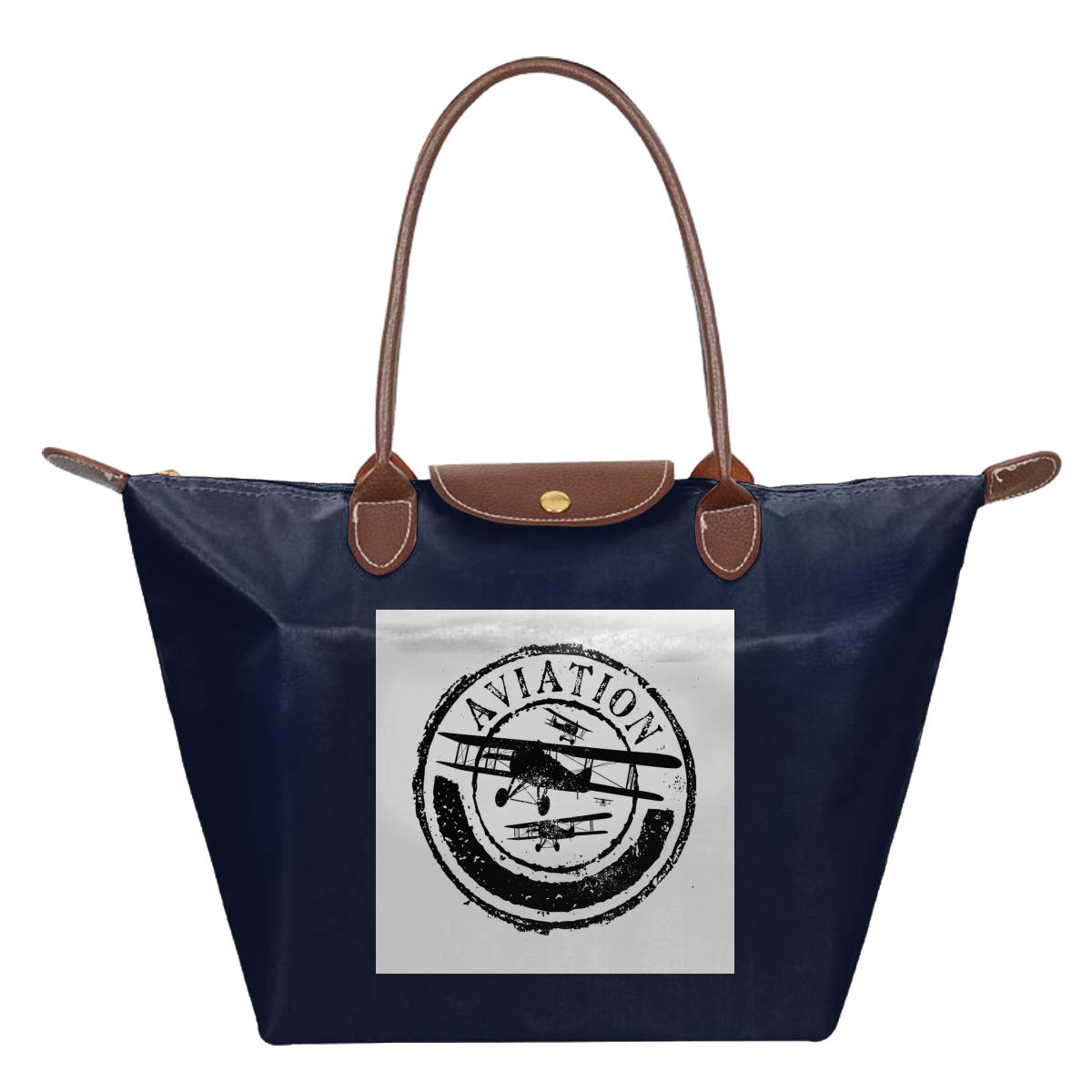 Grunge Stamp Design Word Aviation Airplane Silhouettes Waterproof Leather Folded Messenger Nylon Bag Travel Tote Hopping Folding School Handbags