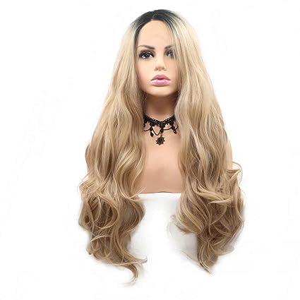 Peluca rubia Ombre de las mujeres Raíces oscuras del pelo sintético del cordón largo hecho a mano Pelucas delanteras del cordón para Drag Queen ...