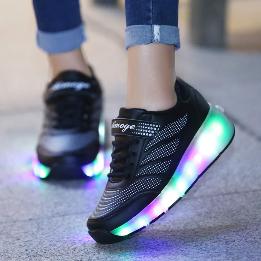 MNVOA M/ädchen Junge Mode LED Rollenschuhe mit Automatisch Verstellbares R/äder Skateboardschuhe Outdoor-Sportarten Gymnastik Blinken Turnschuhe mit USB Aufladbare