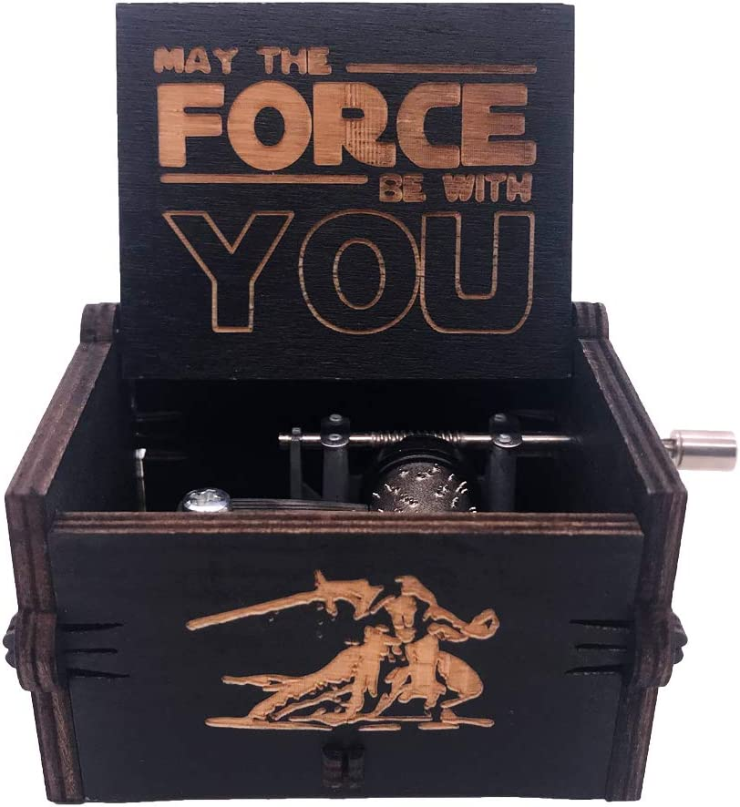 Star Wars Wood Music Box 18 Note Hand Crank Musical Boxes Antique Carved Musical Gifts Collections Home Decorations for Halloween Christmas Birthday Anniversary, Plays Star Wars Theme (Black)