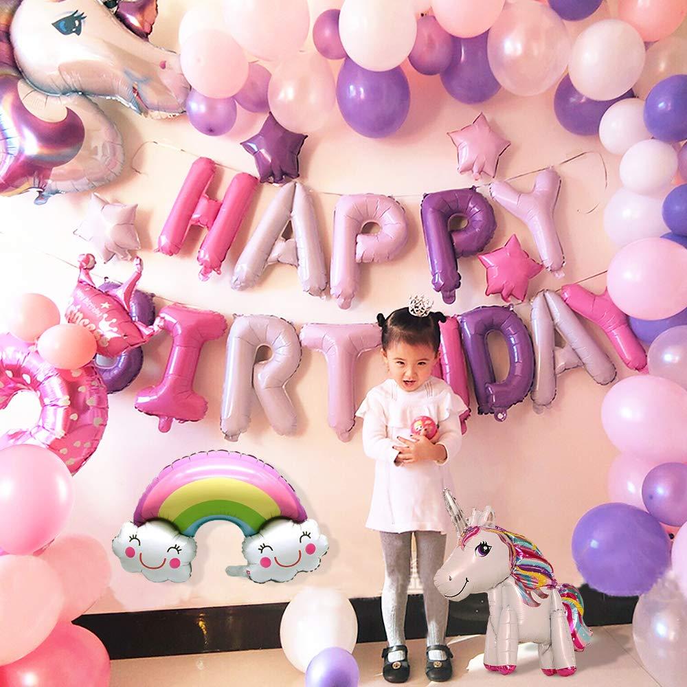 Buon Compleanno Ballon Banner Matrimonio del Partito per linfanzia Ragazza Festa di Compleanno della Signora Unicorno con 2pcs Enorme Palloncino Unicorno MMTX Decorazioni per Feste Unicorno
