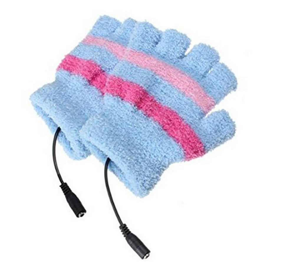 1 Pair Fingerless Gloves USB 2.0 Heated Stripe Design Winter Warm Plush Laptop Mittens Hand Warmer for Women Teen Girls (Blue) by Elandy