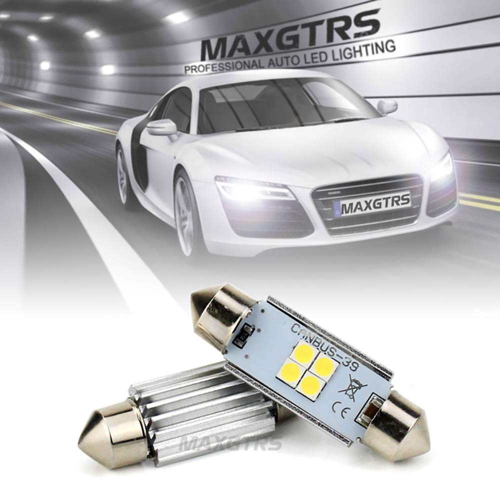 MAXGTRS Extremely Bright C5W Festoon Bulb CANBUS Error Free 4-SMD 3030 Chipset 28mm 6411 6418 DE3423 LED Lamps Replacement For Dome Map Reading Lights License Plate Lights,6000K Xenon White Pack of 2