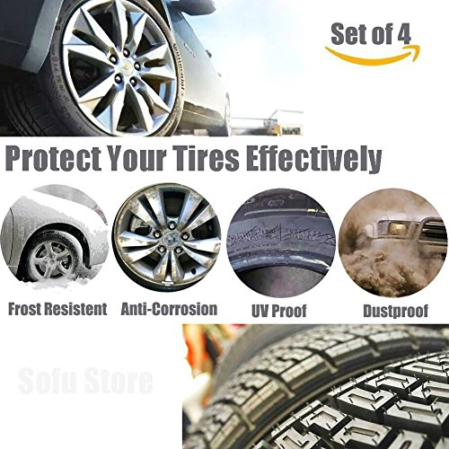 Tire Covers for RV Wheel 30 inch Set of 4 Waterproof Oxford Tires Protector Covers for Motorhome Truck Trailer Camper Auto (30'' for Tire Diameter 76cm, Tire Width 30cm by Tsofu (Image #1)