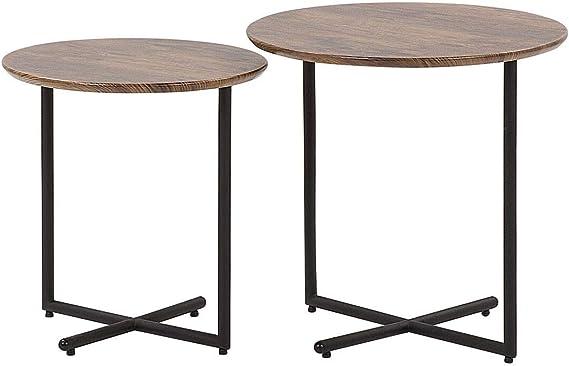 Beliani Set 2 tavolini da Salotto Nero//Color Legno Scuro Ventura