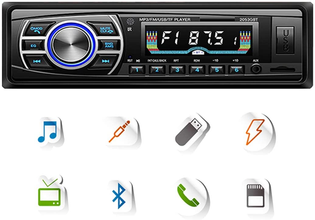 DONGMAO Autoradio Bluetooth,12V / 24V Pantalla OLED Bluetooth FM Turner Aux-in Soporte Bluetooth USB/SD/MMC Lector de Tarjetas Reproductor de MP3 1DIN + ISO Conector