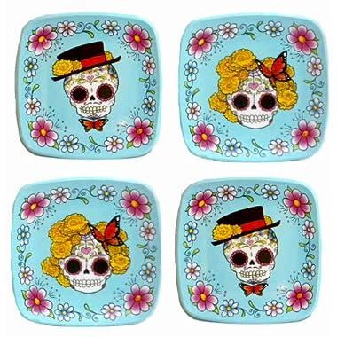 Day of the Dead Bride & Groom Sugar Skull-Small Melamine Plates-Set of 4
