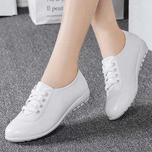 KPHY Primavera Y Otoño Zapatos De Mujer Media Y La Vejez Zapatos De Cuero Zapatos De Fondo Suave Mamá De Fondo Plano Plano Tacones Guisantes Zapatos Zapatos. white