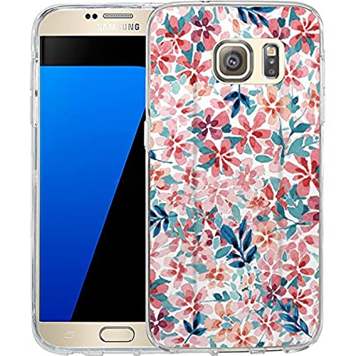 S7 Case Watercolor floral design, LAACO Scratch Resistant TPU Gel Rubber Soft Skin Silicone Protective Case Cover Sales