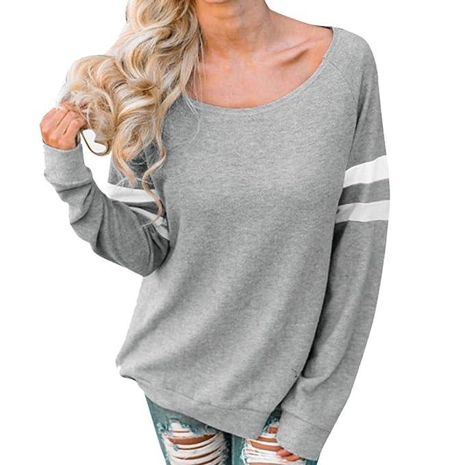 87a2f76be7031b Riou Damenbekleidung,Damen Langarm Spleiß Tops Elegant Bequem Lösen Shirt  Mode beiläufigen Oberteile Blusen Lange