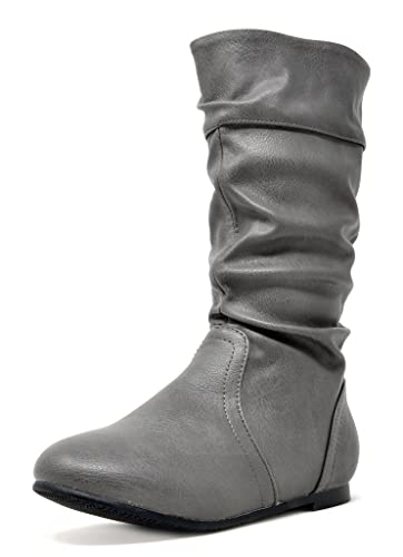 5f0af67aba1 DREAM PAIRS Toddler BLVD-K Grey Pu Girl s Knee High Boots Size 8 M US