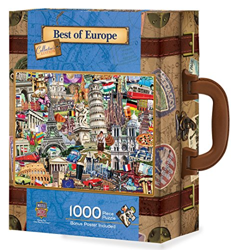 MasterPieces Travel Suitcases Best of Europe Jigsaw Puzzle, Art by Kate Ward Thacker, 1000-Piece (Jig Saw Costume)
