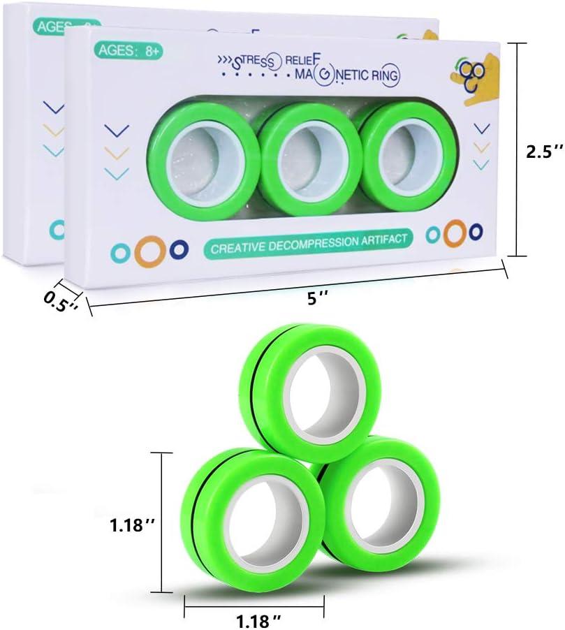 Magnetic Ringe 3 PCS Neuheit lustig bunt Stressabbau Stressabbau Spielzeug f/ür Kinder Professioneller Anti-Stress KarDition FinGears Magic Ring