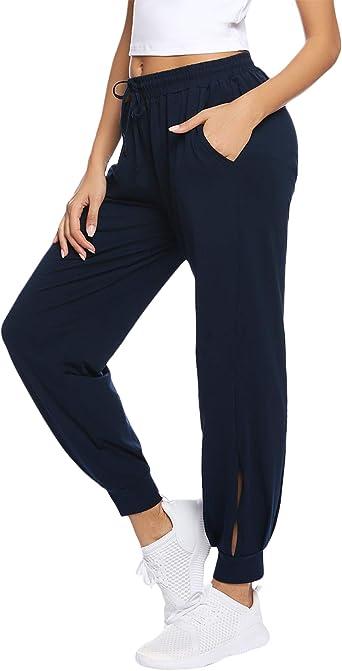 Hawiton Pantalones Deportivos Para Mujer Algodon Pantalones De Pijama Largos Invierno Pantalon De Chandal Para Gimnasio Deportes Correr Entrenamiento Jogging Amazon Es Ropa Y Accesorios