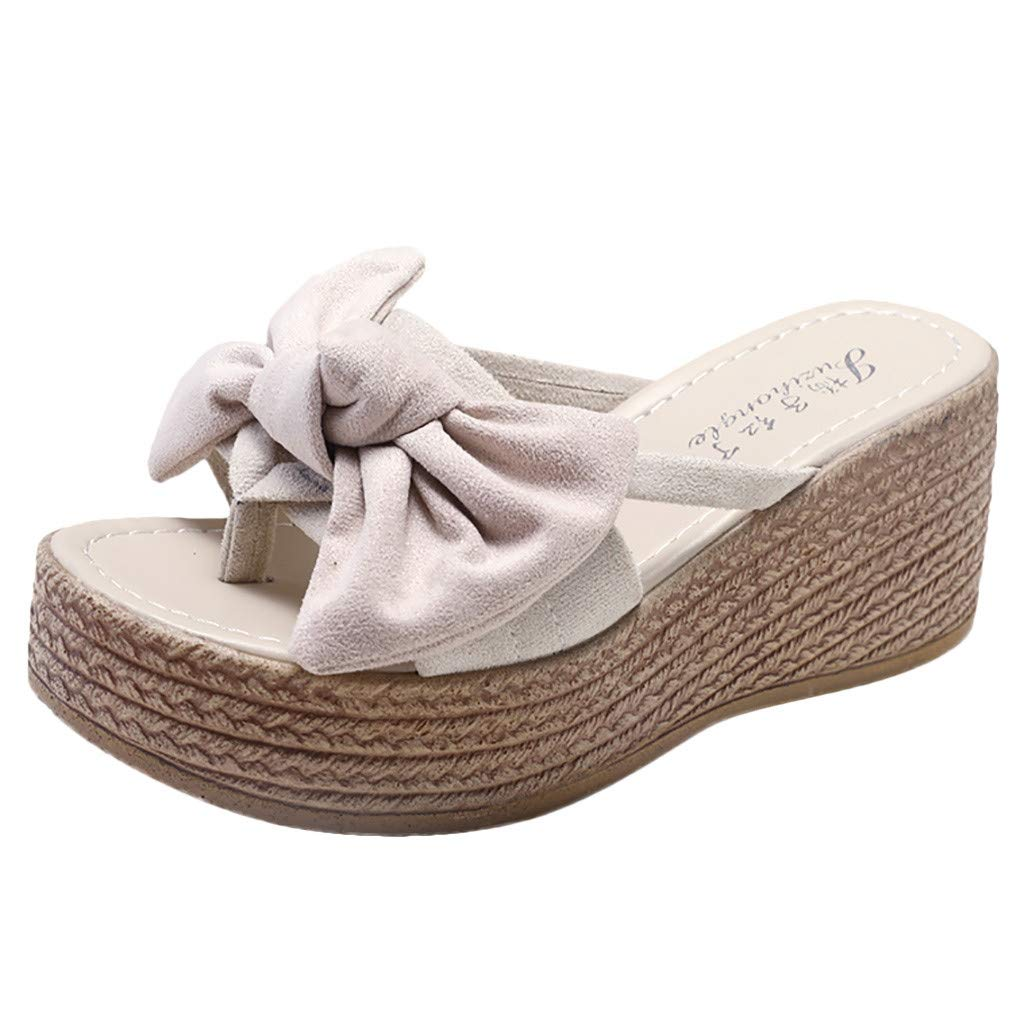 Sonmer Women's Wedges Open Toe Butterfly-Knot Slippers Sandals Summer Beach Shoes Roman Sandals (Beige, 5 M US)