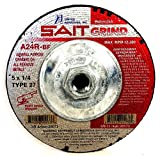 United Abrasives-SAIT 20173 Type 27 5-Inch x 1/4-Inch x 5/8-11 Grade A24R Long Life Depressed Center Grinding Wheels, 10-Pack