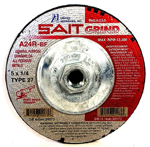 United Abrasives-SAIT 20173 Type 27 5-Inch x 1/4-Inch x 5/8-11 Grade A24R Long Life Depressed Center Grinding Wheels, 10-Pack by United Abrasives- SAIT