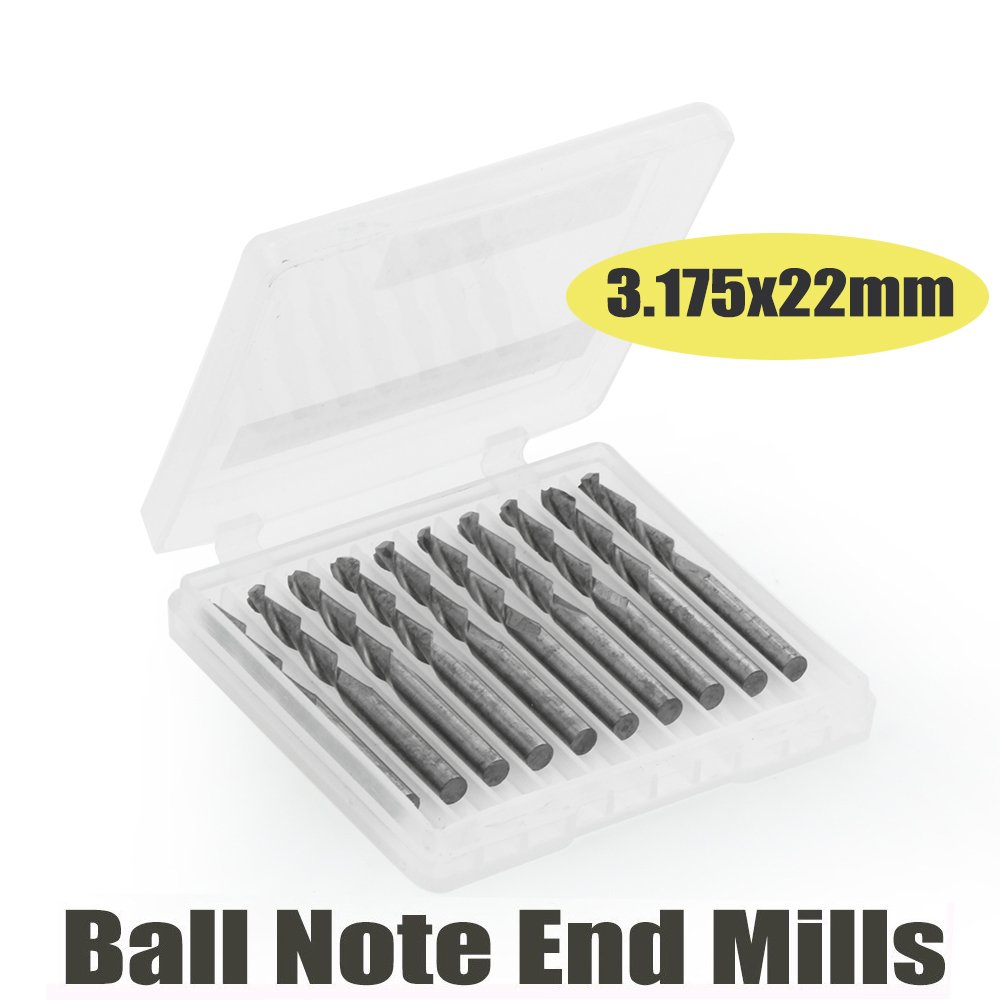 1/8'' 2 Flutes Ball Nose Carbide Engraving Cutter 3.175mm 22mm CNC Router Bits Tools Cutting Pack Of 10
