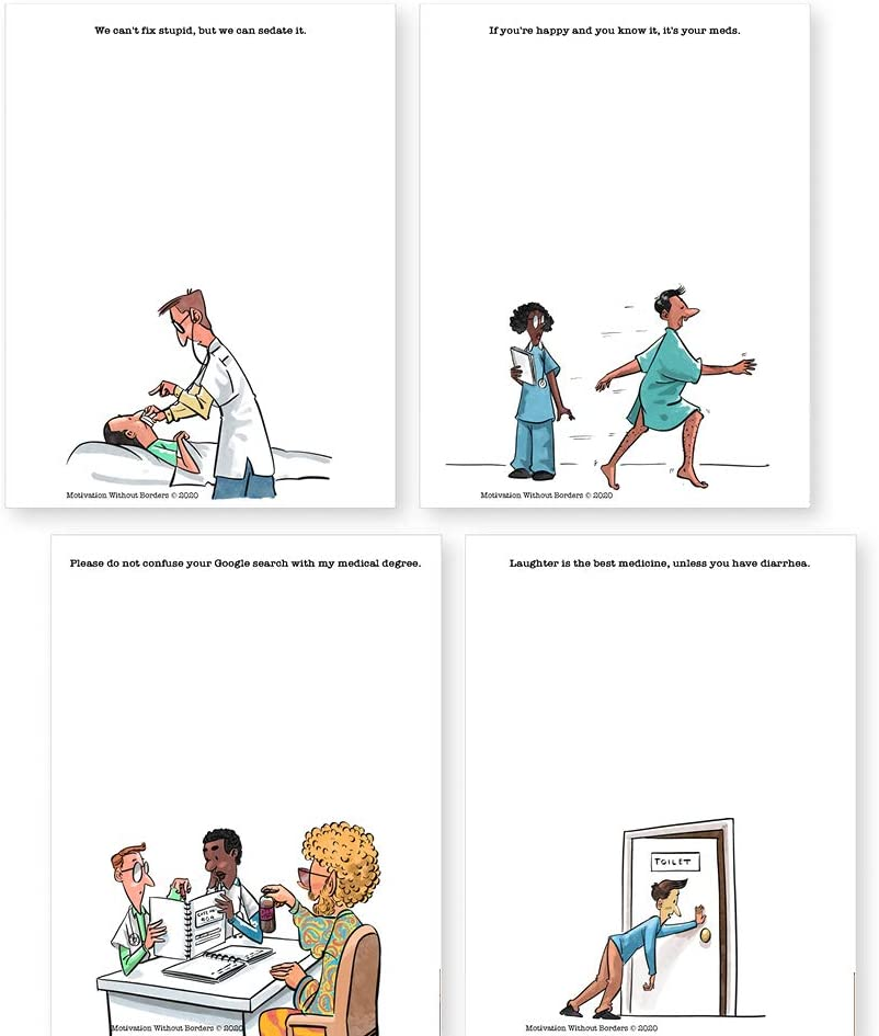 Medical Humor Notepads (Perfect Doctors Gifts Ideas) 4 Funny Notepads - Great for Nurse Humor (Nurses Gifts), Doctor Gifts, Physician Assistant Gifts (4.25 x 5.5 inches -50 sheets per pad- 4 PACK)