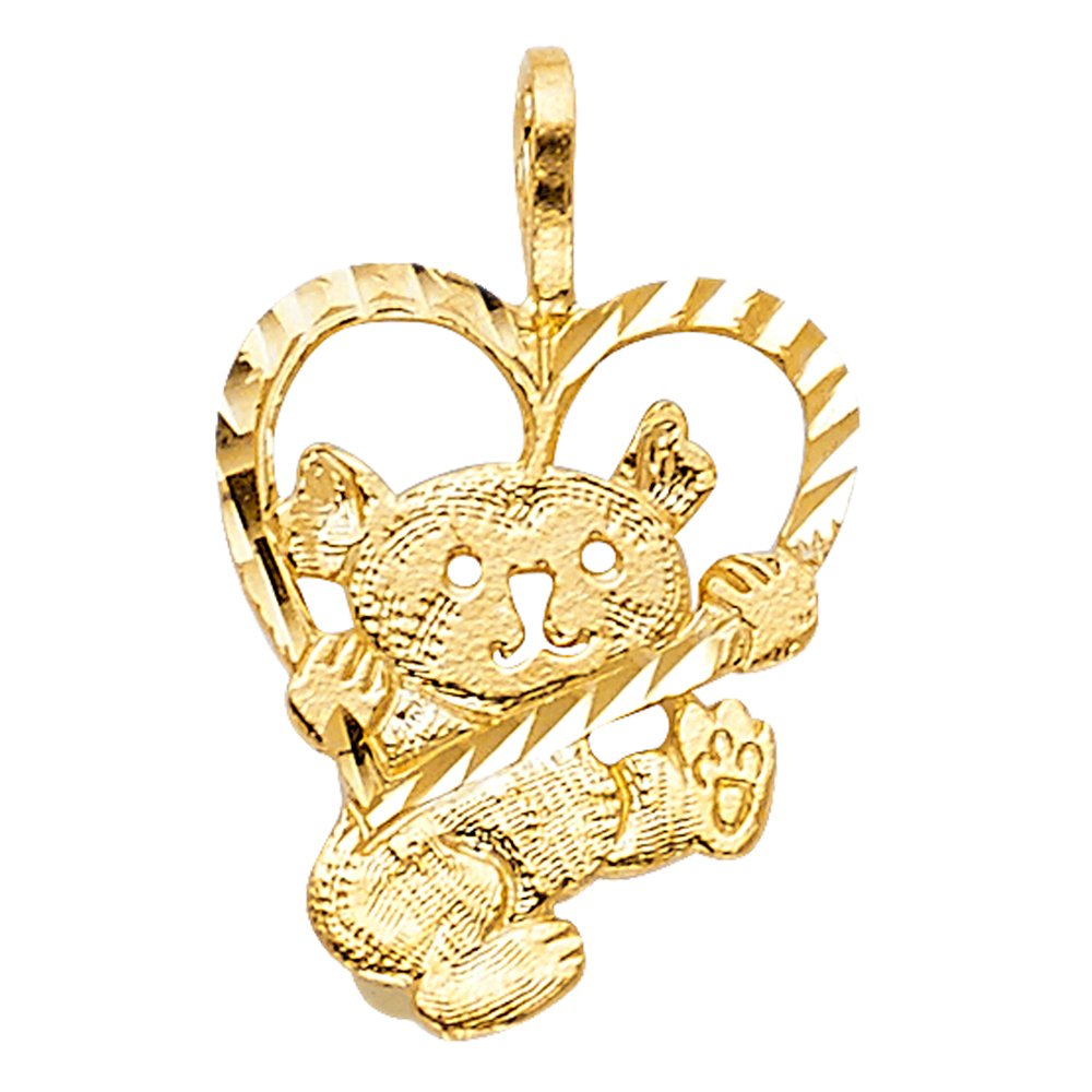 Ioka 14K Yellow Gold Girl Charm Pendant For Necklace or Chain
