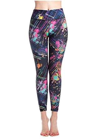 5f953b70ff Lotus Instyle Women's Galaxy Fireworks Painting Print Active Yoga Leggings  Pants Colorful-XL