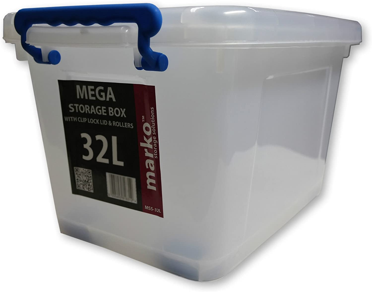 with Wheels /& Clip Lids Marko Storage Solutions 32L Heavy Duty Strong Plastic Storage Boxes 32 LTR Litre 1 Box