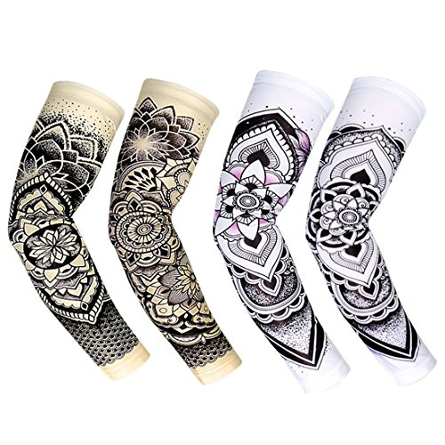 RoryTory Cooling Arm Elbow Compression Sleeve Sun Guard Tattoo Sleeves Cover Up - for Outdoor Cycling Golfing Basketball Baseball Tennis Soccer Lymphedema - 2 Pairs White/Tan Lotus, Small]()