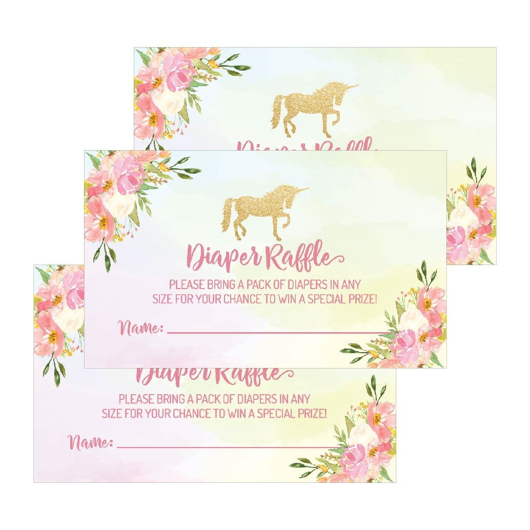 25 Unicorn Diaper Raffle Ticket Lottery Insert Cards For Pink Girl Flower Floral Baby Shower Invitations, Supplies Games For Gender Reveal Party, Bring a Pack of Diapers to Win Favors Gifts and Prizes