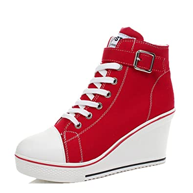 Ghope Wedges Trainers Heels Sneakers Platform High Hi Top Ankles Lace Ups Zip Boots