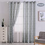 CAROMIO Moroccan Pattern Linen Blend Curtains, Geometric Lattice Print Linen Blend Grommet Window Curtain Panels for Living Room with Tiebacks – 52 x 95 Inches, Grey (2 Panels)