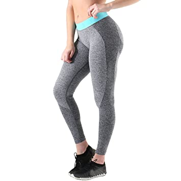 f53bc70379c93 Ulanda-EU Womens Yoga Pants Ladies Sports Leggings High Waist Solid Fitness  Gym Workout Stretchy Elastic Athletic Skinny Exercise Running Tights  Trousers ...