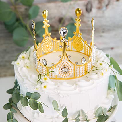 Magnificent Avafort Gold Crown Cake Topper Elegant Cake Decoration For King Funny Birthday Cards Online Elaedamsfinfo
