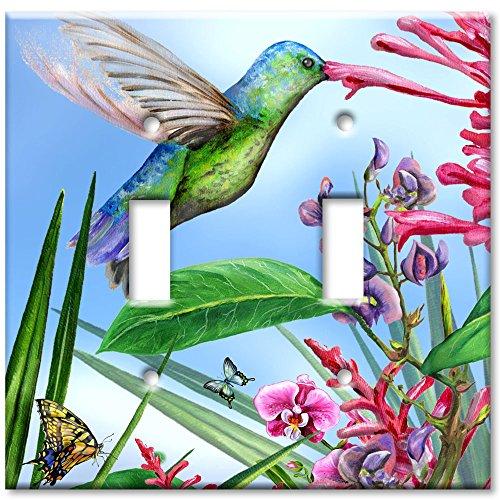 - Double Gang Toggle Wall Plate - Green Hummingbird