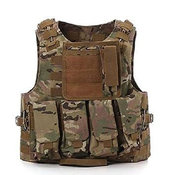 Chaleco táctico militar Molle, para Airsoft, SWAT, Policía, CP Camo: Amazon.es: Deportes y aire libre