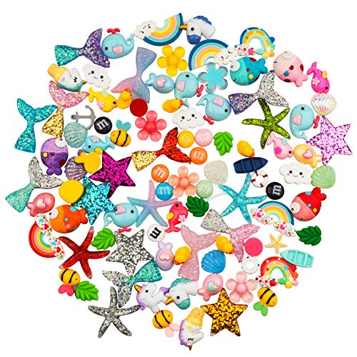 Petift 100 Pieces Slime Charms Cute Set Mixed Mermaid Tail,Unicorn,Ducks and Animals,Resin Flatback Slime Beads for Kids and Adults Craft Making,Ornament Scrapbook DIY -