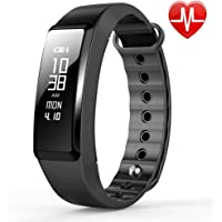 JYOU Fitness Tracker, Smart Band Wristband Bracelet with Heart Rate Monitor, Blood Pressure monitor IP67 Waterproof Pedometer for Smartphones (Black)