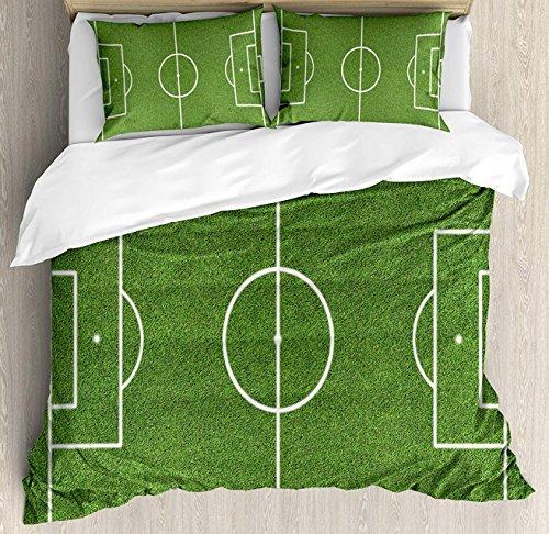 (Teen Room Decor Duvet Cover Set King Size, Soccer Field Grass Motif Stadium Game Match Winner Sports Area Print, Decorative 3 Piece Bedding Set with 2 Pillow Shams, Fern Green White)