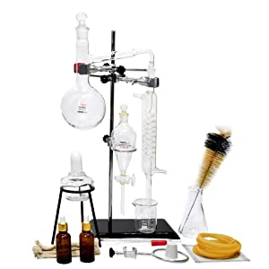 Labware Set 500ml Essential Oil Extraction Distillation Apparatus Water Distiller Purifier Glassware Kits Hydrosol, Moonshine,Home Distillation kit