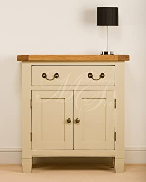 CREAM PAINTED CHUNKY RUSTIC OAK COMPACT SMALL SIDEBOARD CUPBOARD CABINET