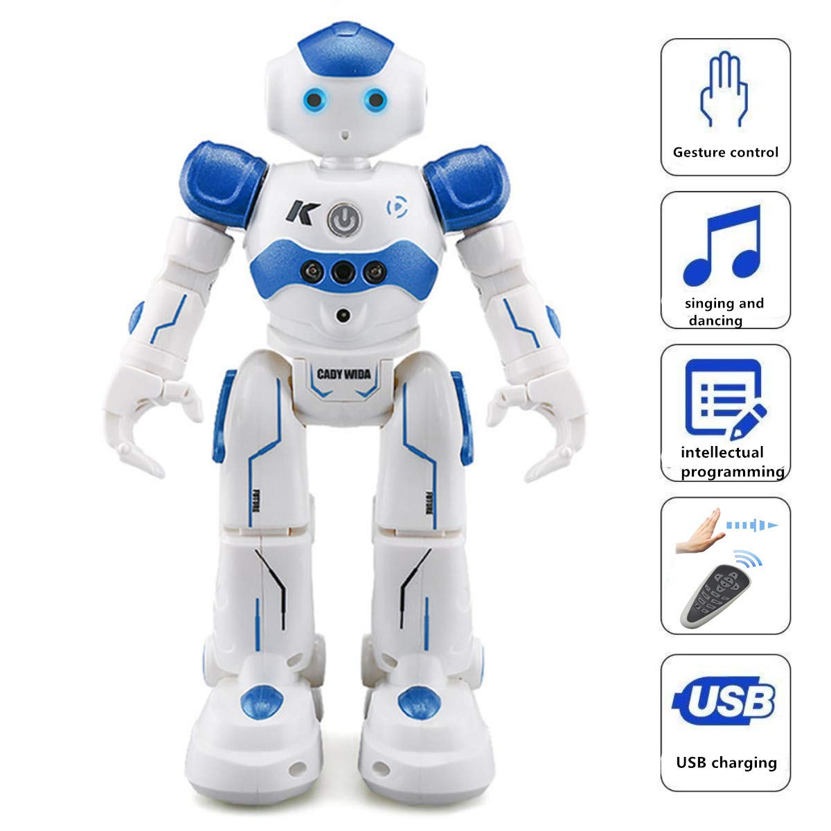 WEECOC Smart Robot Toys Gesture Control Remote Control Robot Kids Toys Birthday Can Singing Dancing Speaking Two Walking Models (White) by WEECOC (Image #3)